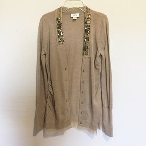 Ann Taylor loft cardigan rhinestones on collar tan